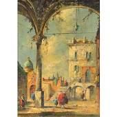 Italian School Courtyard Scene oil on canvas