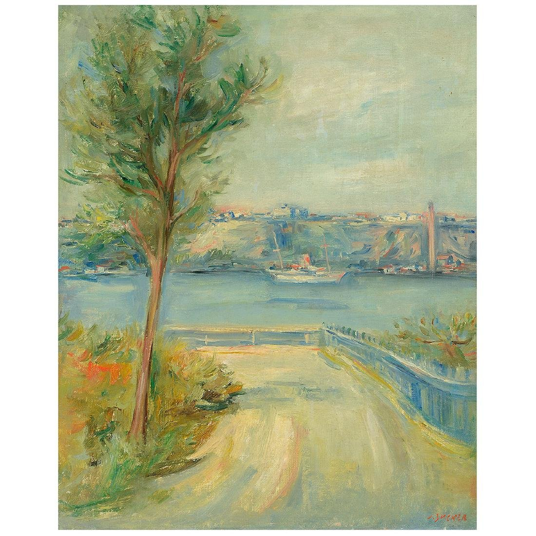 "Jacques Zucker ""Hudson River"" oil on canvas"