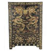 Chinese Black Lacquered and Gilt Painted Wood Cabinet