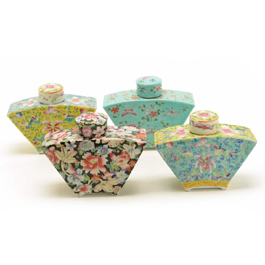 Four Famille Rose Tea Caddies, Republic Period
