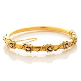 Seed Pearl, 14k Yellow Gold Bracelet.