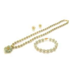 Jade, 14k Yellow Gold Jewelry Suite.