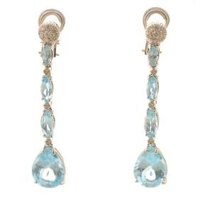 Pair of Blue Topaz, Diamond, 18k White Gold Earrings.