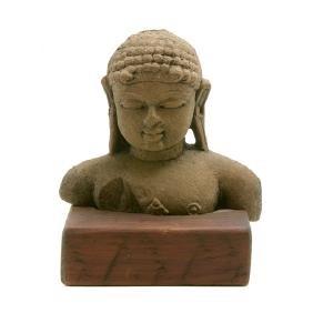 Sandstone Bust of Buddha