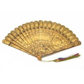 Chinese Export Gilt Lacquered Folding Fan, 19th Century