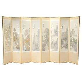 Korean 8-Panel Embroidered Folding Screen, 20th Century