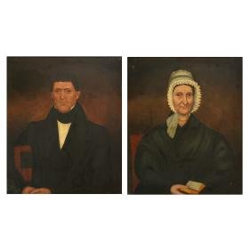 """John Wilkie """"John"""" and """"Abigail"""" oil on canvas laid on"""