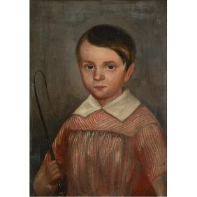 "American School ""Portrait of boy with Riding Crop and"