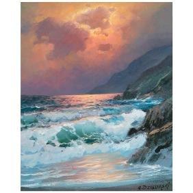 "Alexander Dzigurski ""Coastal Landscape"" oil on canvas"