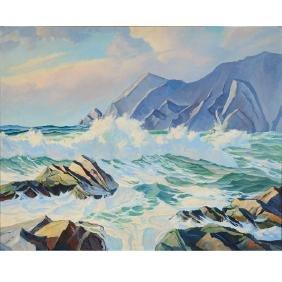 "Stanley Cookson ""Seascape"" oil on canvas"