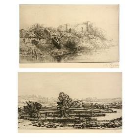 """Alphonse Legros """"Les Tombieres"""" and """"La Village"""