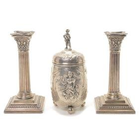 Pair of English Silver Weighted Columnar Candlesticks
