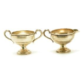 Pair of Empire Sterling Silver Creamer and Sugar