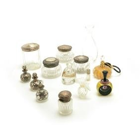 Collection of Sterling Mounted Dresser Jars and Perfume