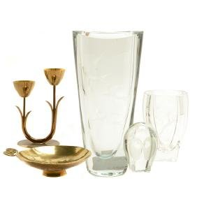 Collection of Swedish Glass and Brass Articles