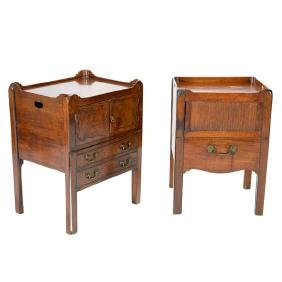 Associated Pair of George II Mahogany Bedside Commodes