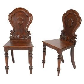 Pair of George IV Mahogany Hall Chairs in the Manner of