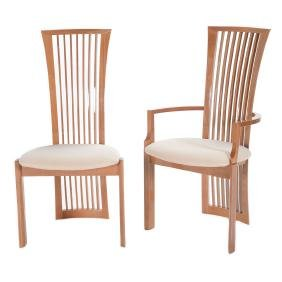 Six Costantini Pietro High Back Lacquered Dining Chairs