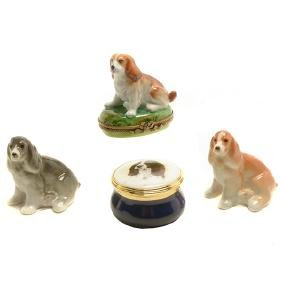 Collection of Porcelain Dogs Boxes and Figurines