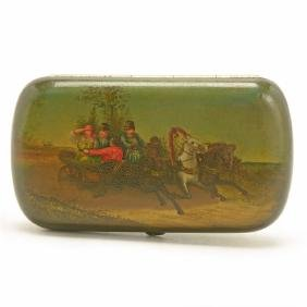 Russian Painted Papier-M'chÈ Lacquered Cigarette Box