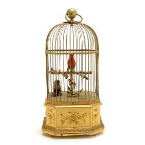 Swiss Automaton Singing Birds in Gilt Brass Cage