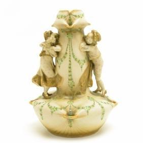 Austrian Amphora Hand Painted Figural Bisque Vase