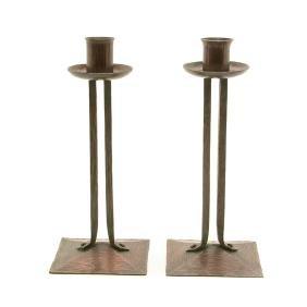 Pair of Roycroft Hammered Copper Candlesticks