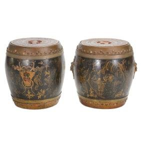 Pair of Asian Style Lacquered Storage Drums