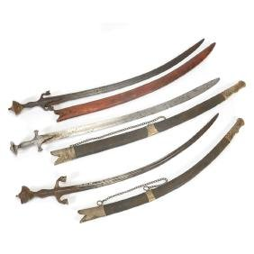 Three Persian Shamshir with Leather Scabbards
