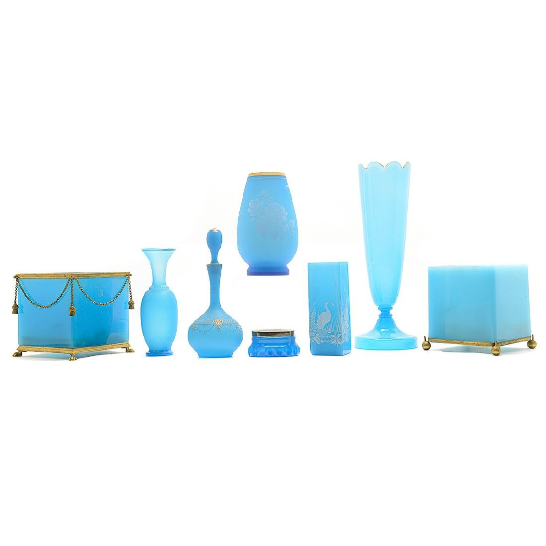Collection of Eight Blue Opaline Glass Articles