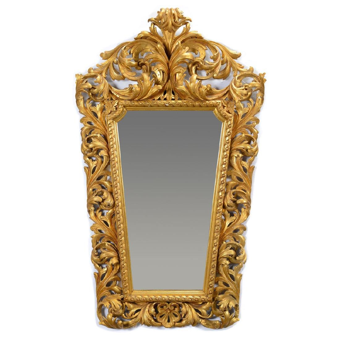 Italian Baroque Style Giltwood Mirror, Late 19th C.