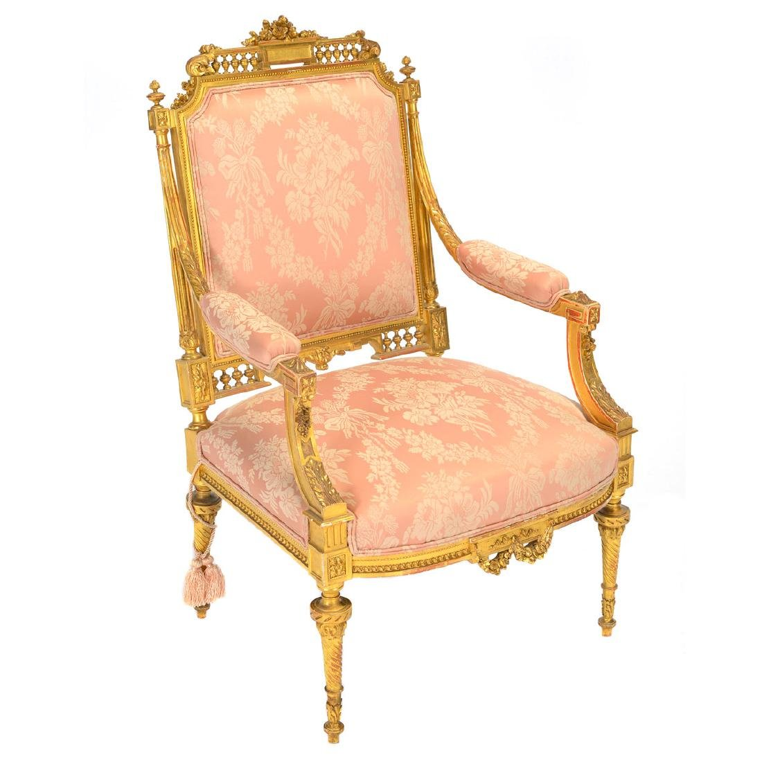 Louis XVI Style Giltwood Upholstered Fauteuil