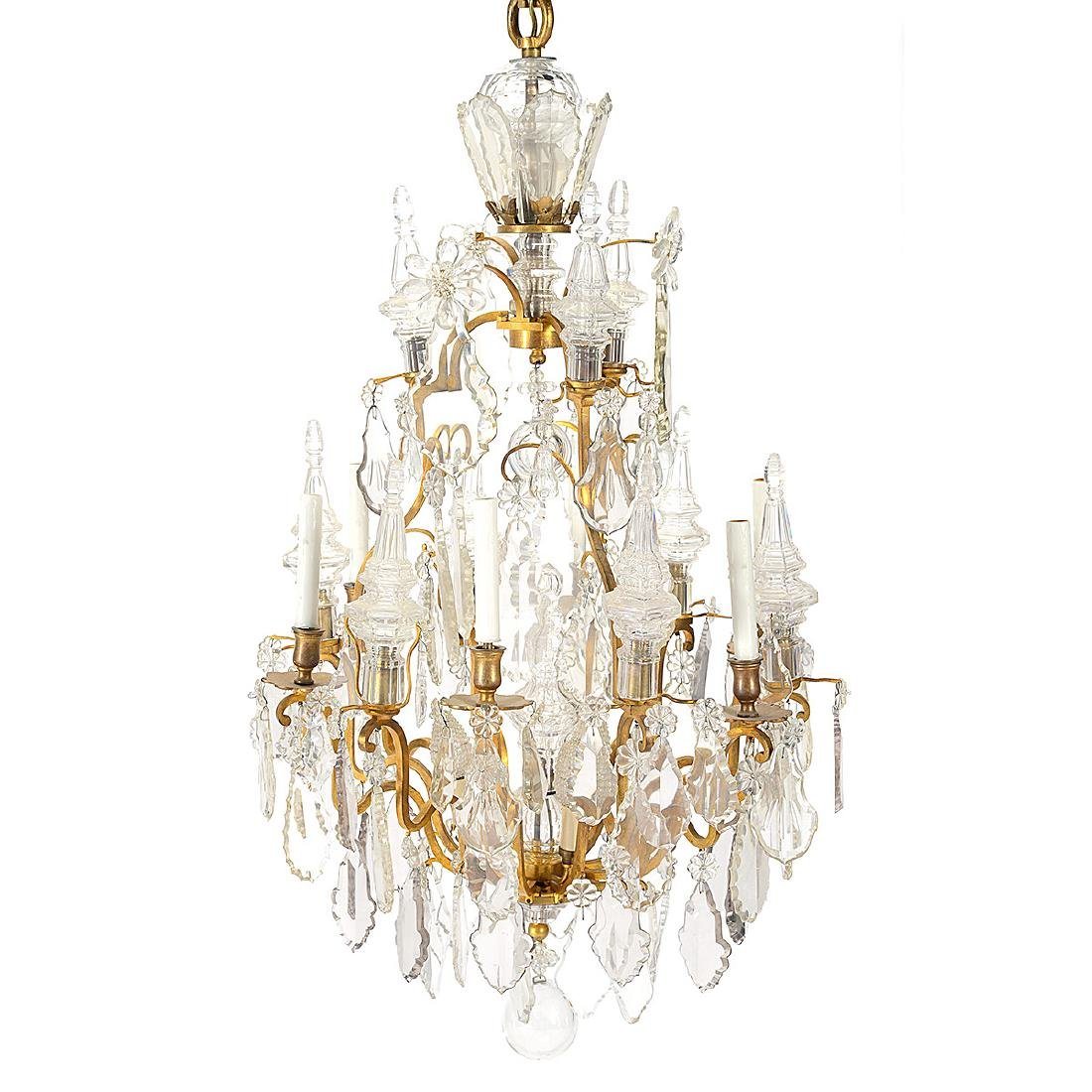Louis XV Style Gilt Bronze and Cut Glass Chandelier