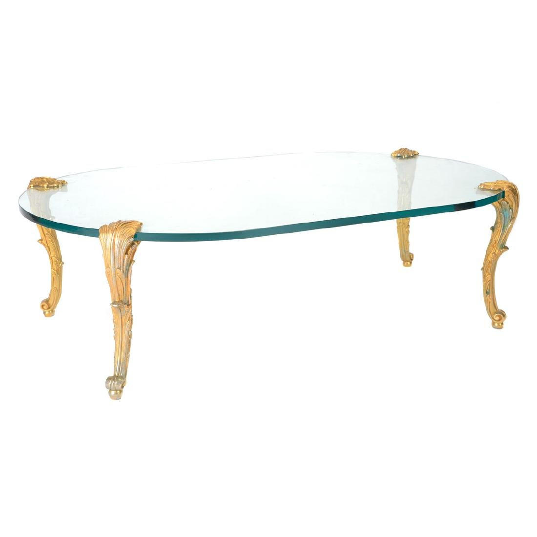 P. E. Guerin Gilt Bronze and Glass Oval Low Table