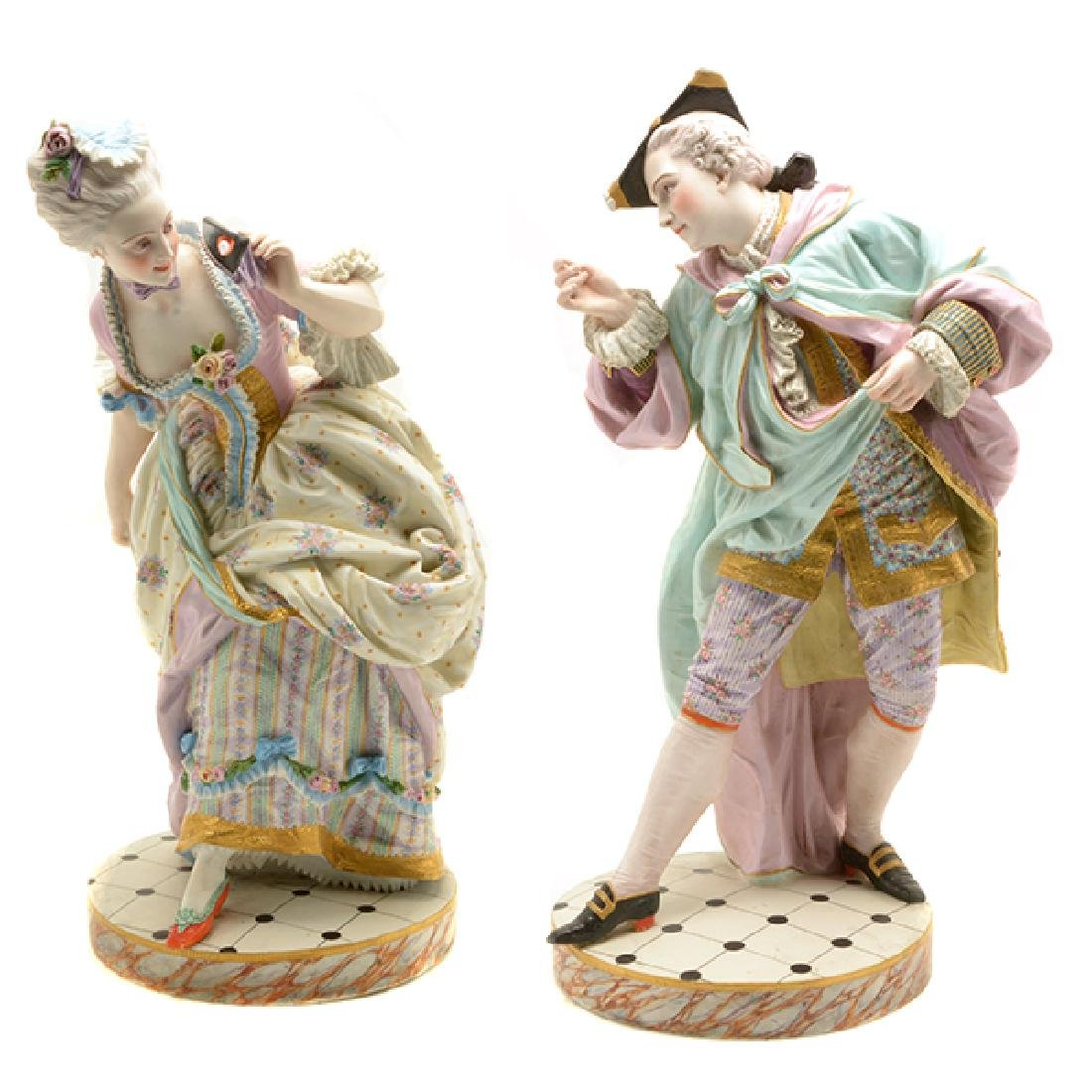 Pair of Large Continental Bisque Figures