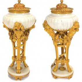 Superb Pair Of Louis Xvi Style Gilt, Marble Cassolettes
