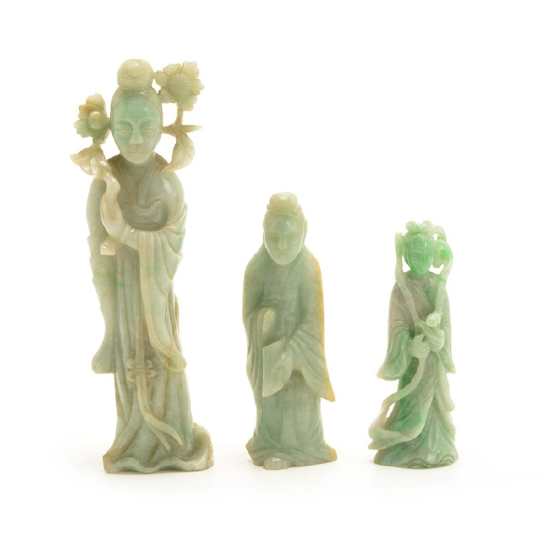 Three Green Jadeite Figural Carvings, 19th Century