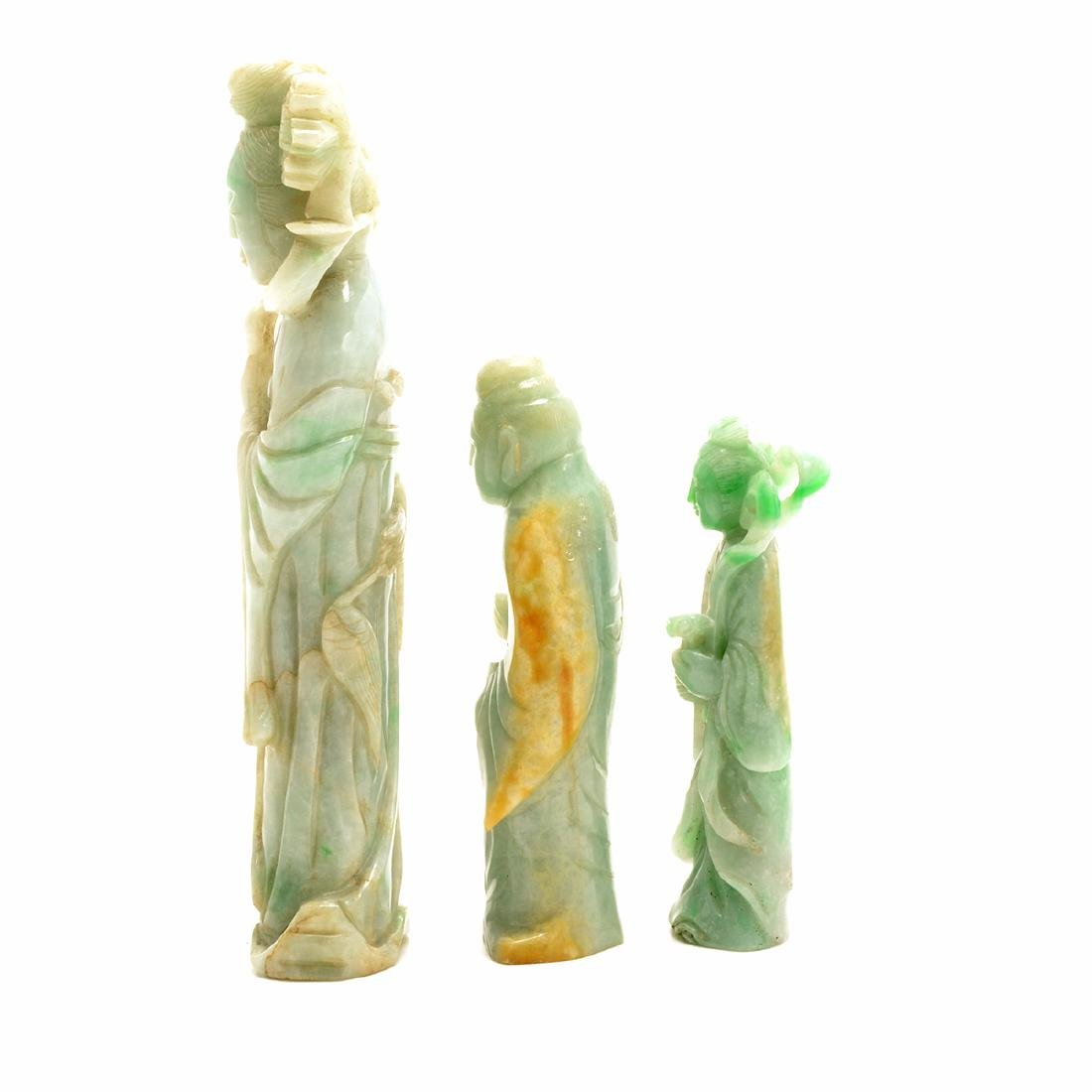 Three Green Jadeite Figural Carvings, 19th Century - 2