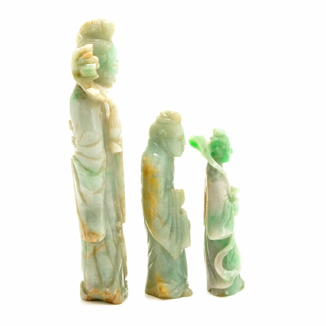 Three Green Jadeite Figural Carvings, 19th Century - 4