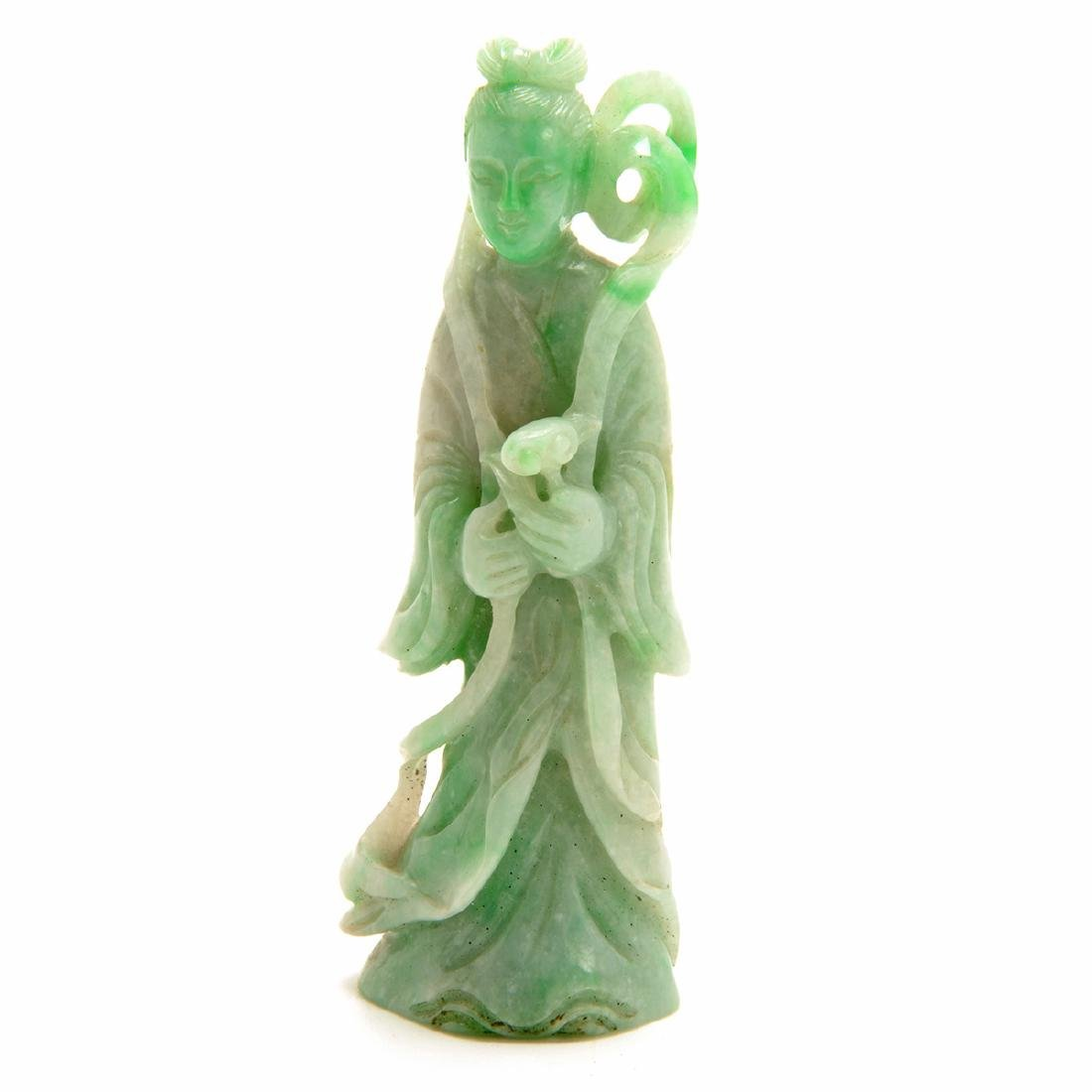 Three Green Jadeite Figural Carvings, 19th Century - 5