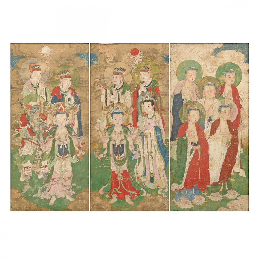 Anonymous: Three Buddhist Figural Painting Fragments
