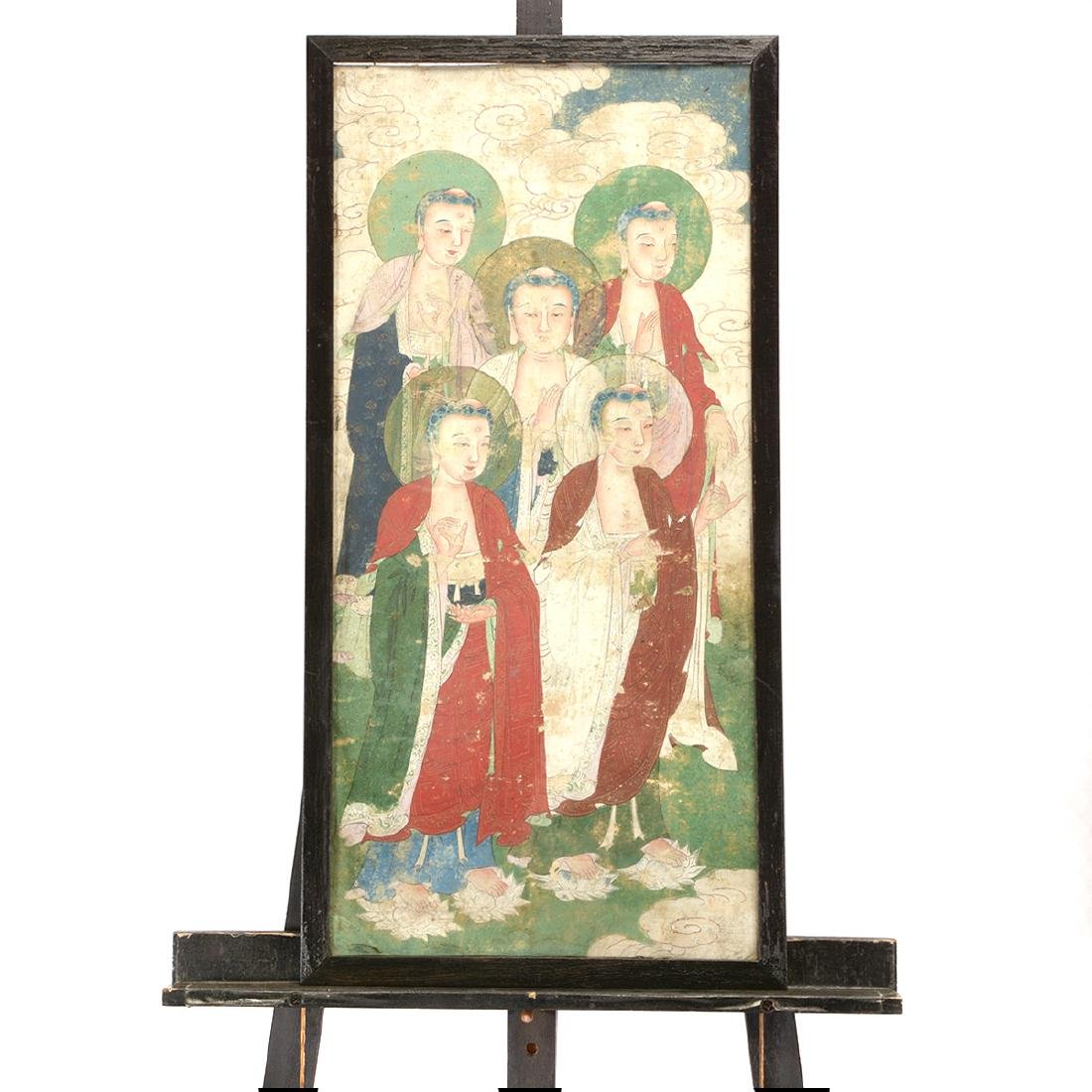 Anonymous: Three Buddhist Figural Painting Fragments - 6