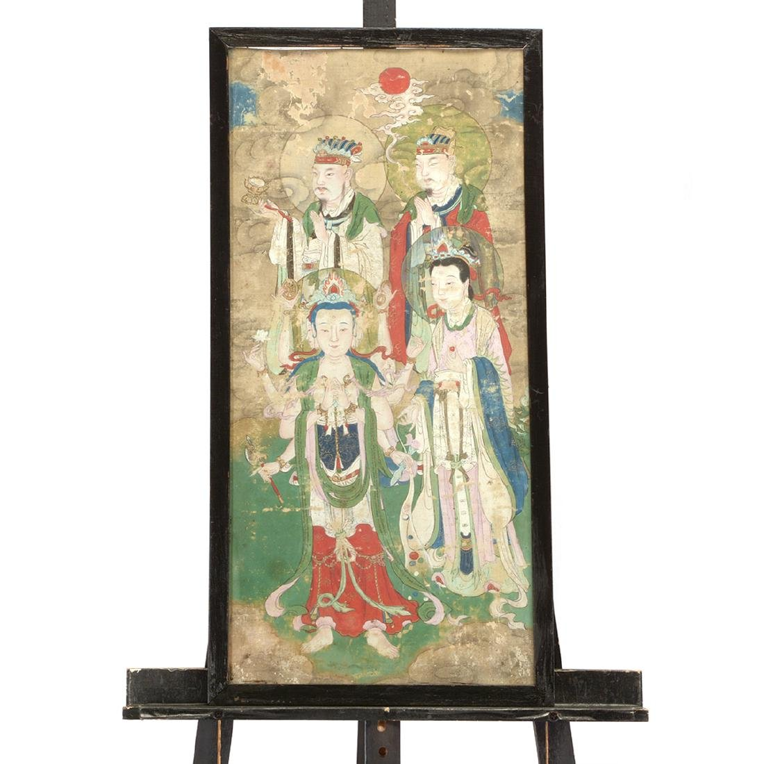 Anonymous: Three Buddhist Figural Painting Fragments - 9