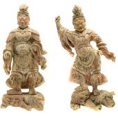Pair of Carved Wood Guardian Kings Muromachi Period