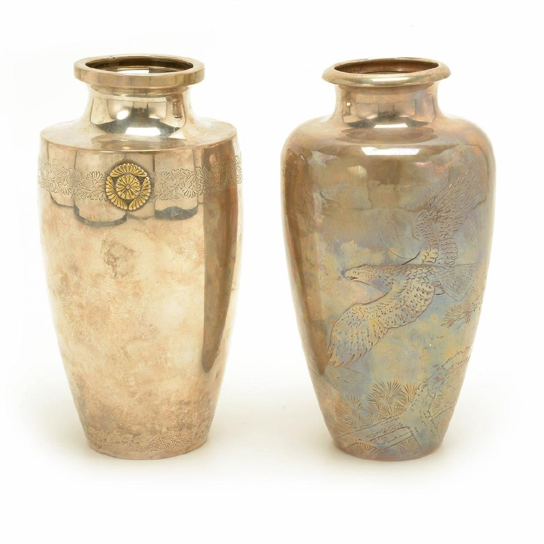 Two Baluster Silver Vases, Meiji Period