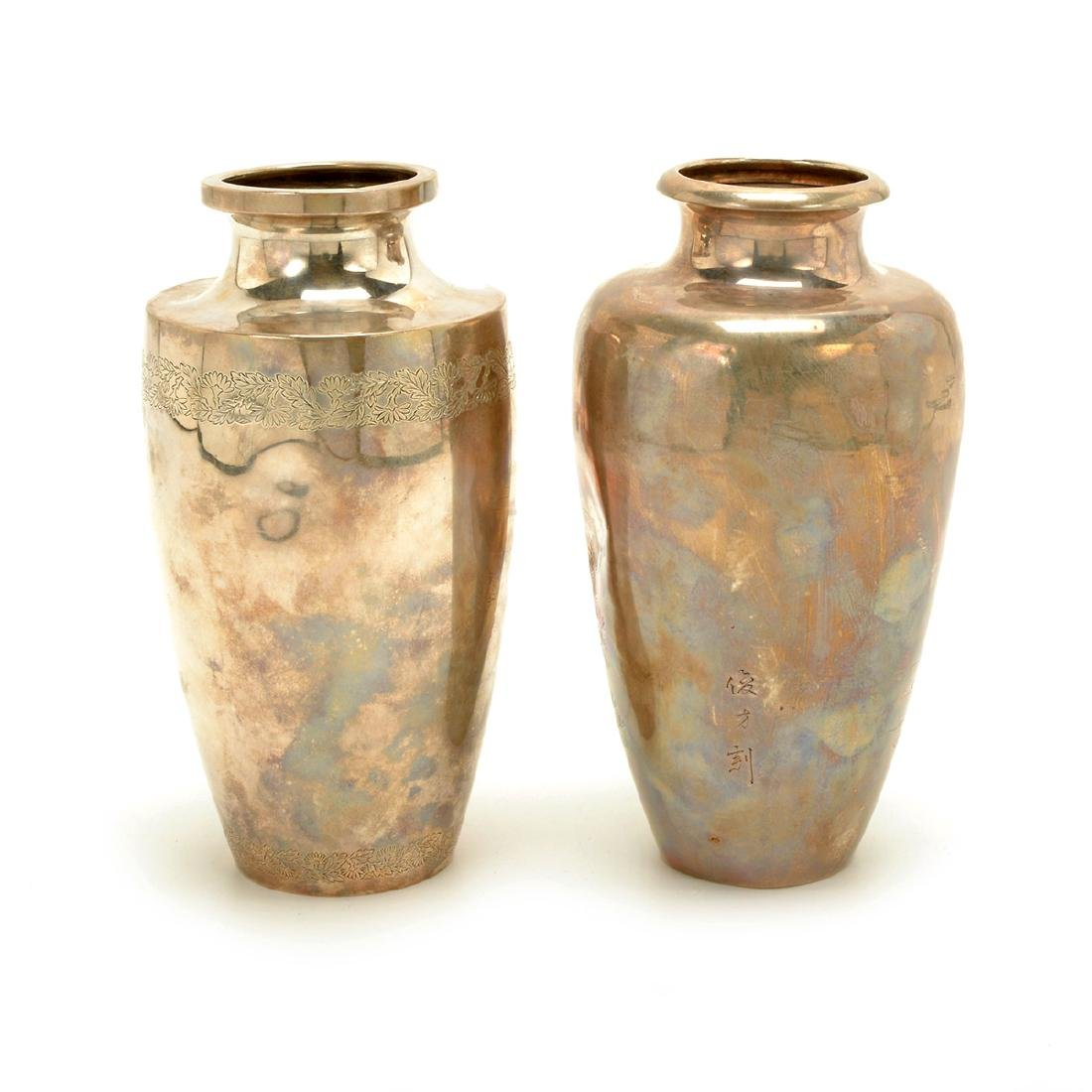 Two Baluster Silver Vases, Meiji Period - 2