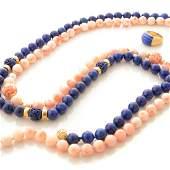 *Lapis Lazuli, Coral, Cultured Pearl, 14k Yellow Gold