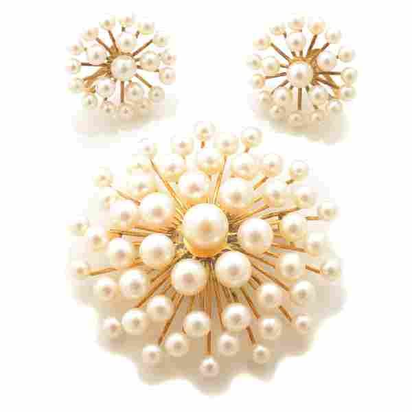 Cultured Pearl, 14k Yellow Gold Jewelry Suite.