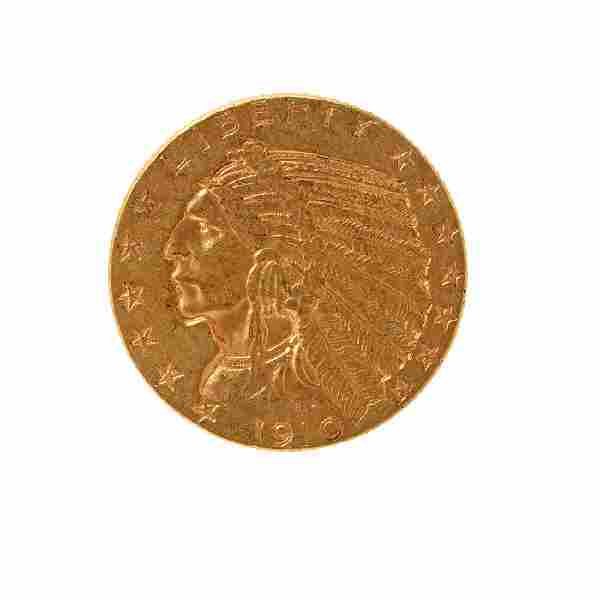 US 1910 Indian Head $5.00 Gold Coin