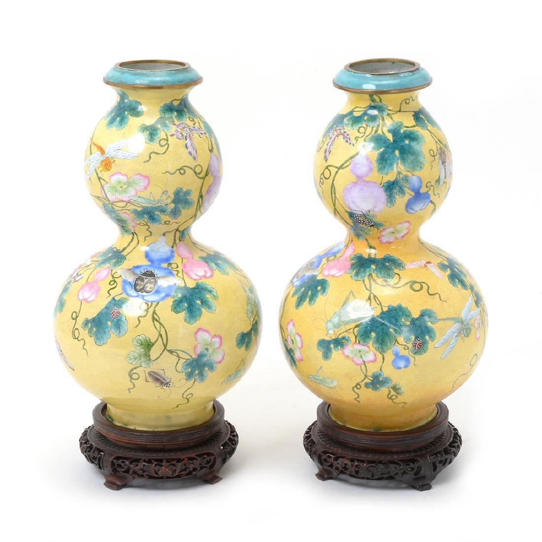 Pr of Canton Enamel Double Gourd Vases, 18th/19th C.